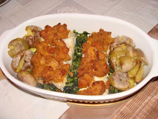 Bacalhau em Cama de Grelos e Crosta de Alheira