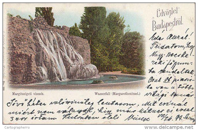 HUNGARY 1899 LITHO Margaret Island (Margitsziget) Park in Central Budapest