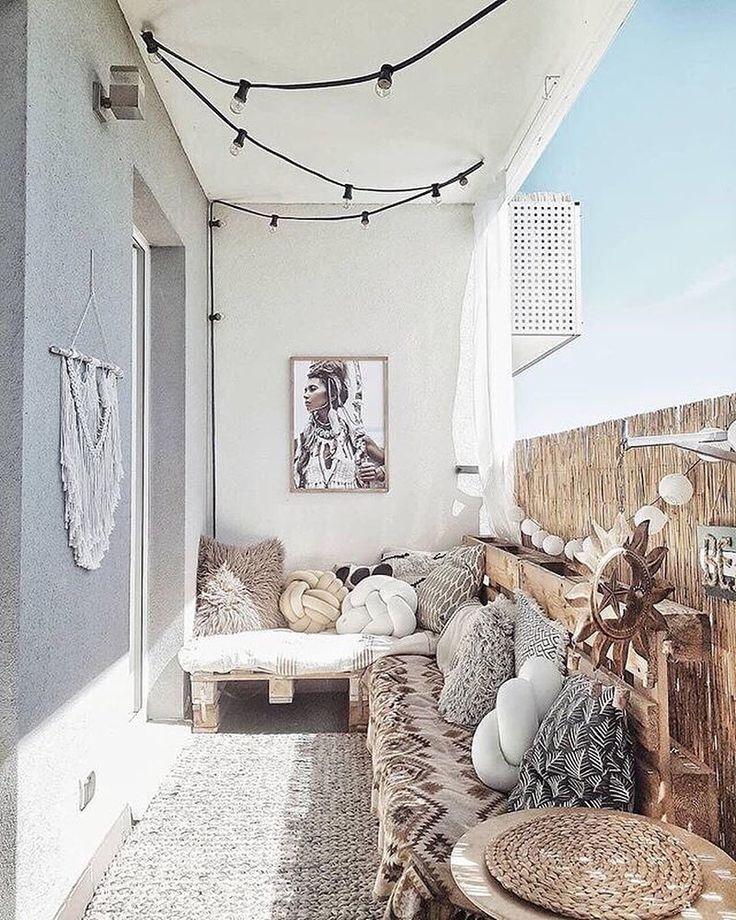 Balkon-Ziele! Welchen Hashtag würden Sie verwenden, um den Boho-Balkon von @ oliv.home zu beschreiben?