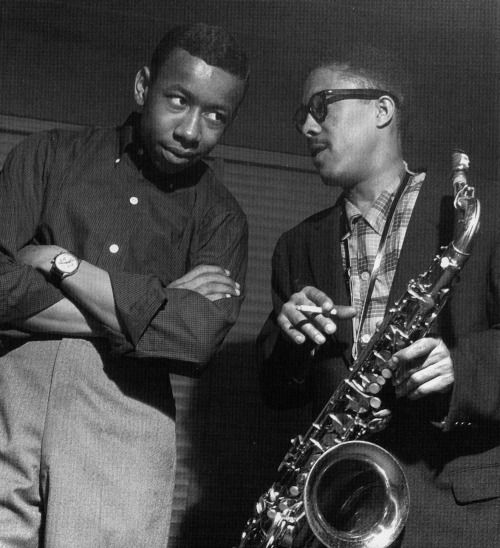 Lee Morgan and Johnny Griffin at Griffin's A Blowin' Session, Hackensack NJ, April 6 1957 (photo by Francis Wolff)