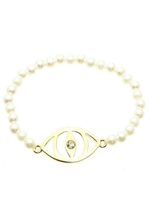 Evil Eye Stretch Bead Bracelet (Cream) – EvaMaria Boutique