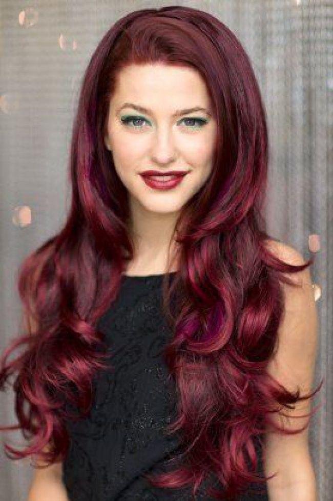 cheveux framboise la couleur qui cartonne en 2016 tendance coiffure - Coloration Rouge Sur Cheveux Noir