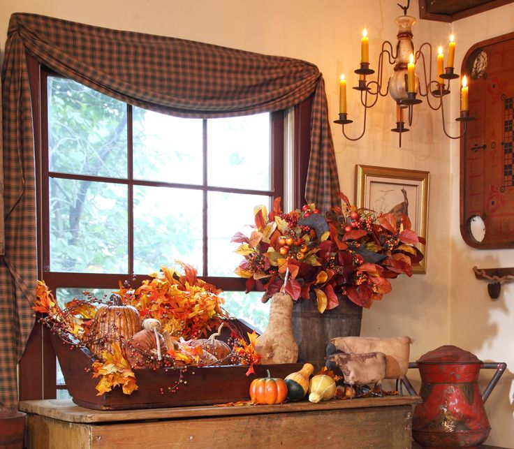 Primitive Fall Decor -  love the draped fabric