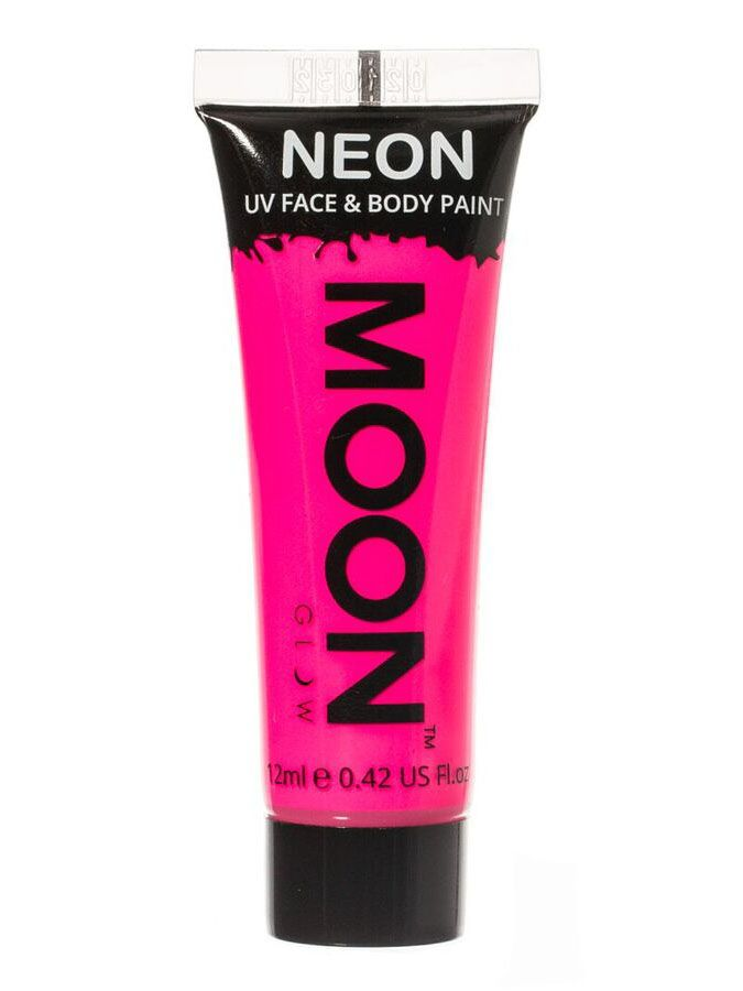 Gel cuerpo y rostro rosa fluorescente UV Moonglow™ 12 ml: Este gel de rostro y cuerpo es de la marcaMoonglow ©.Es de color rosa fosforescente y brilla cuando es expuesto a la luz negra UV.El envase mide unos 8 cm de largo y contiene 12 ml de...