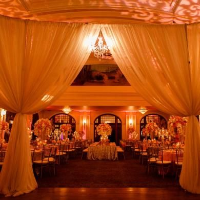 Gorgeous Room Shot At Crystal Ballroom Houston Coral Pink And Gold Wedding