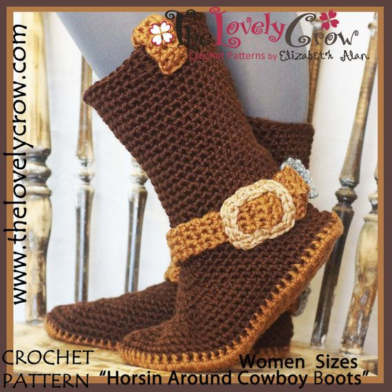 Crochet Pattern Adult Sizes Cowboy Boots by TheLovelyCrow on Etsy