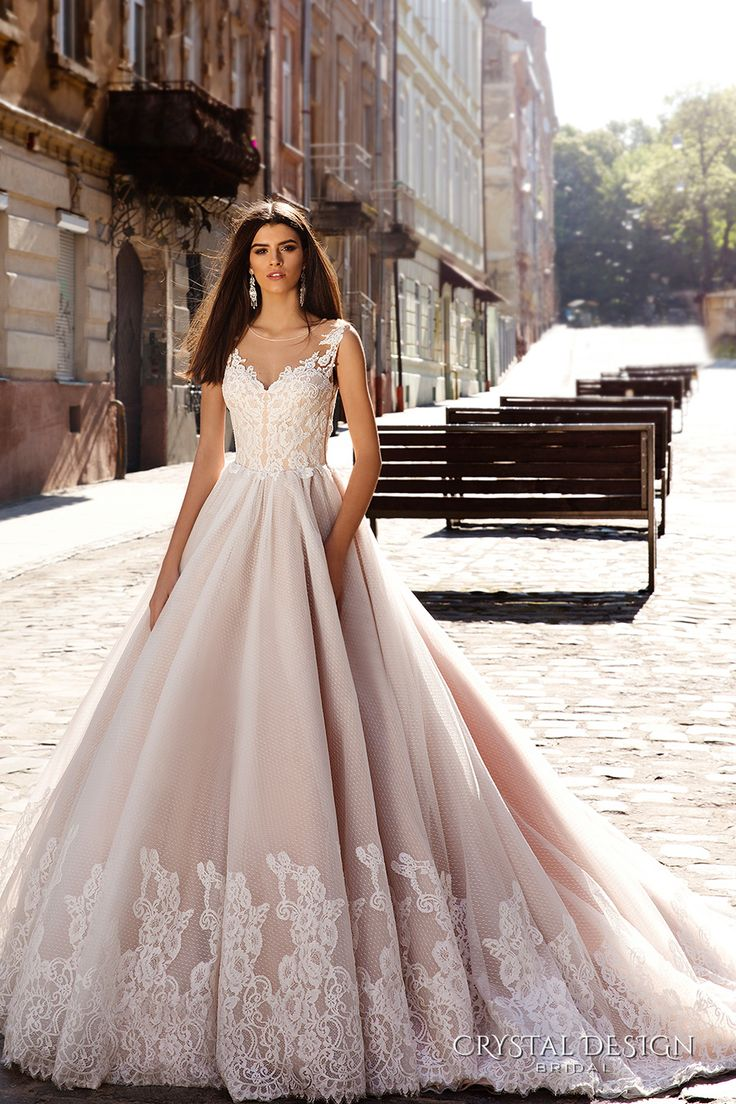 CRYSTAL DESIGN bridal 2016 sleeveless illusion round neckline v neck lace embellished bodice gorgeous princess ball gown wedding dress chapel train (avrora) mv #bridal #wedding #weddingdress #weddinggown #bridalgown #dreamgown #dreamdress #engaged #inspiration #bridalinspiration #weddinginspiration #weddingdresses