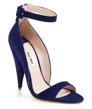 Blue, high heeled pumps with suede uppers and ankle straps. - Miu Miu Ankle Band Sandals Image: Nordstrom.com (Buy Direct)