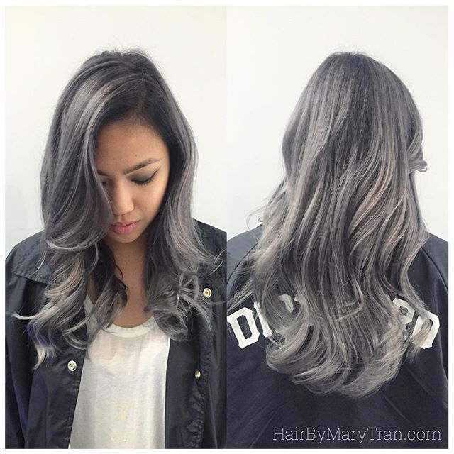 #mulpix Formula: -Lighten to level 9 (pale yellow) -Tone all over with 9v #redken shades EQ, rinse and towel dry. - Shadow root with 1 1/2 oz clear and a splash of 1B shades EQ + 1 1/2 shades developer - Blend 9B from mid shaft to ends. Ta-da !!! You have granny hair !