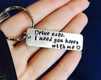 Personalized Keychain, Drive Safe, Boyfriend Gift, Aluminum, Couples Keychain, Engraved Keychain, Husband Gift, Boyfriend Gift #boyfriendgiftsideas
