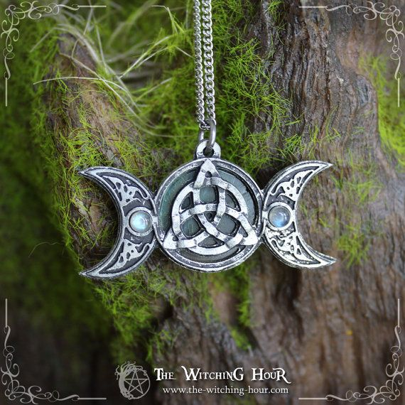 Triple moon and triquetra celtic pendant by TheWitchingHourArt