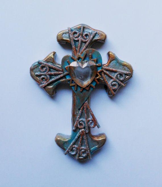 Искусство крест использованы найденный объект, смешанная техника ручной росписи религиозного искусства подарок на День Матери стене крест