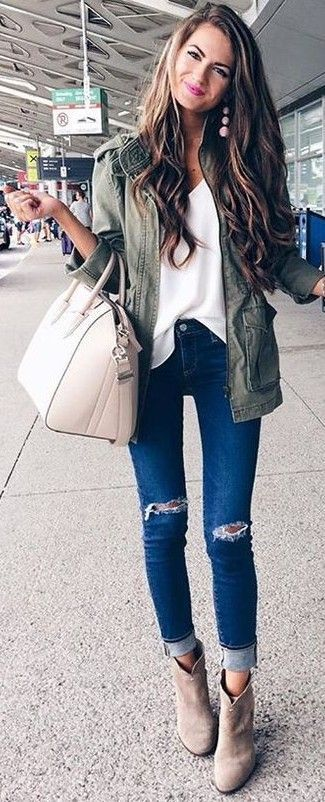 #fall #stylish #outfits |  Utility Jacket + White Blouse + Ripped Denim