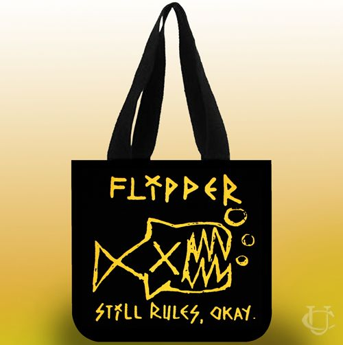 Sell Flipper still rules okay black Tote Bags cheap and best quality. *100% money back guarantee