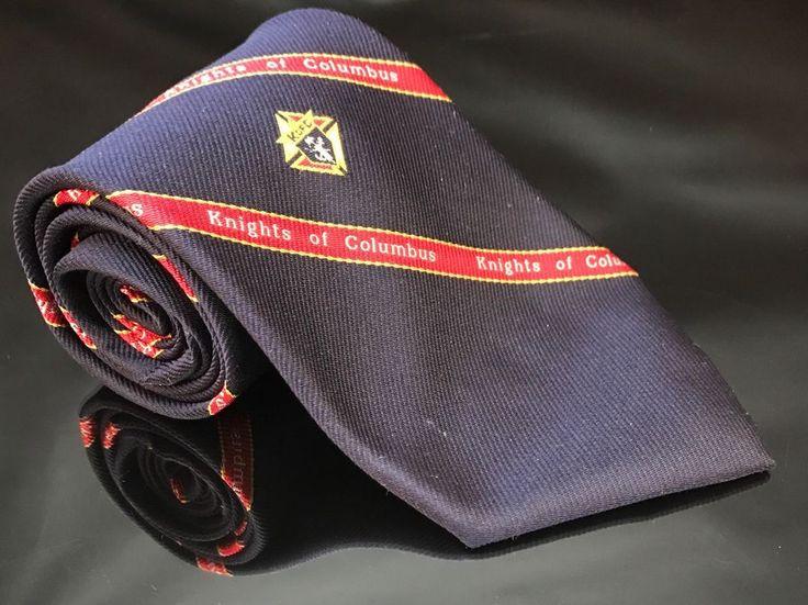 VTG Navy Blue Red Striped Knights of Columbus Neck Tie Necktie Catholic Frat  | eBay