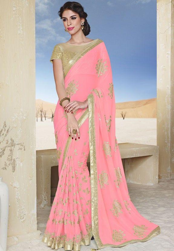 Chic Coral Pink Saree