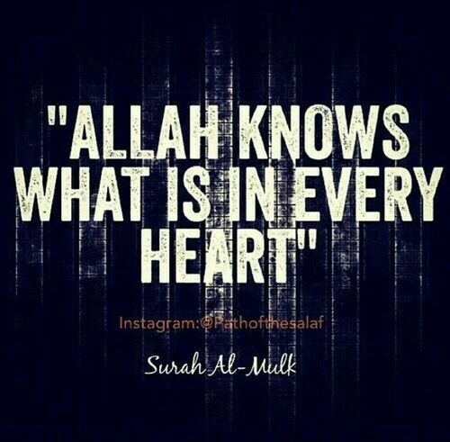 """Allah knows what is in every heart ♥."