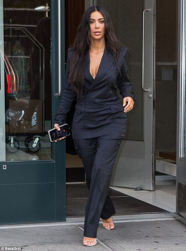 What a goddess: The wife of Kanye West looked sharp in her vintage Jean Paul Gaultier pins...