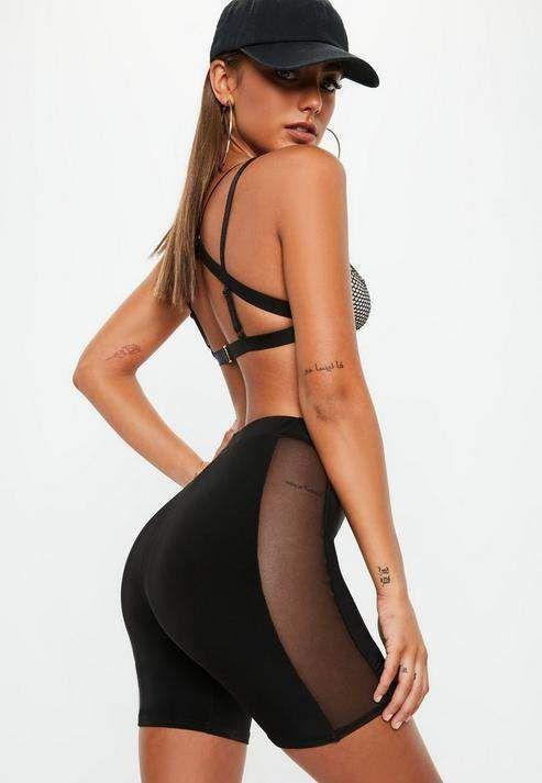 Missguided Black Mesh Side Biker Short #Sponsored Mesh#Black#Missguided   – Chea…  – Biker Shorts