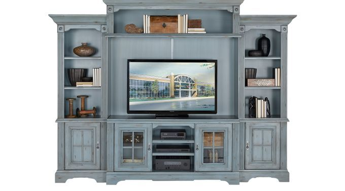 Wall Units – Rooms To Go – Mountain Bluff Blue 5 Pc Wall Unit – 2408734P