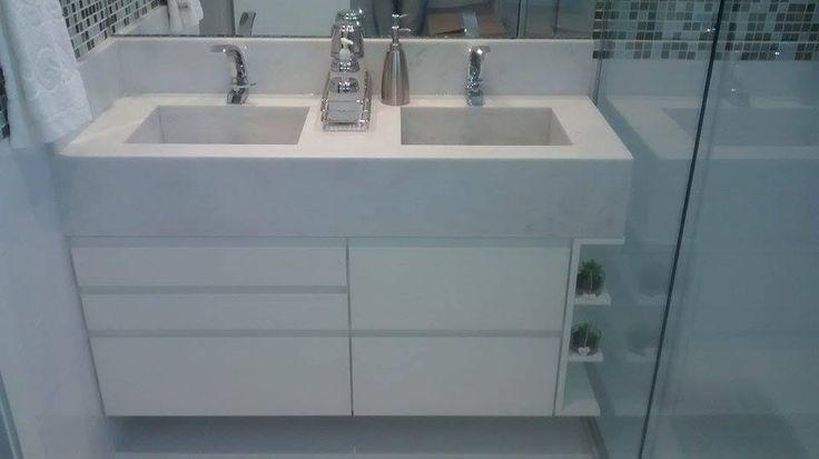 Armarios banheiro cubas duplasMarceloMobili Design  Casa Bonita  Pinterest -> Cuba Para Banheiro Dupla