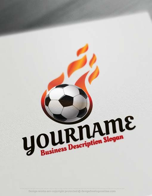 Create a logo Free - Free Logo Maker - football logo design Readymade footballLogo design decorated with a Soccerlogo image.    How to design free logo online? 1- Customize This logo with our free logo generatortool -Change you company name, slogan, colors & fonts. 2- Like your design? Buy this affordablelogo template and use it for print & web.  License: