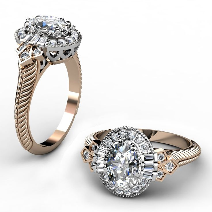 Stunning Vintage style Oval diamond engagement ring made in platinum and ct rose gold
