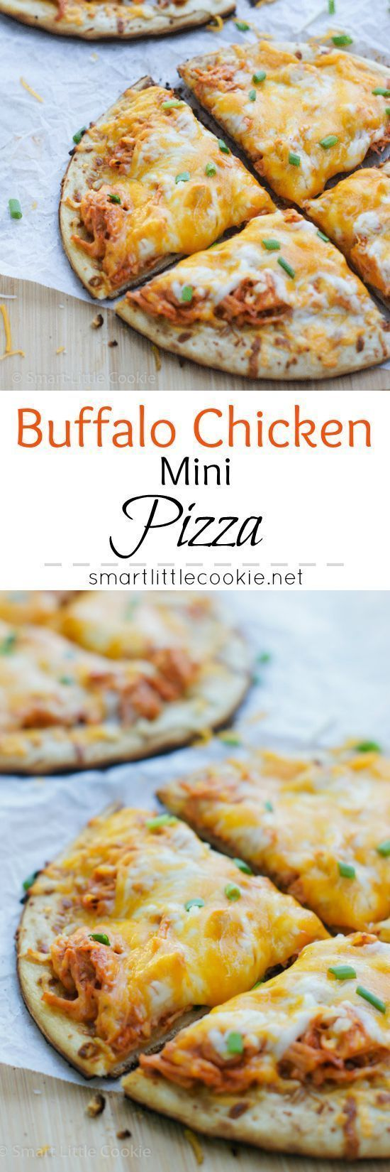 Cheesy, crispy, spicy and full of flavor! The perfect Game Day Buffalo Chicken Mini Pizza. @elyucateco #KingofFlavor #ad | smartlittlecookie.net
