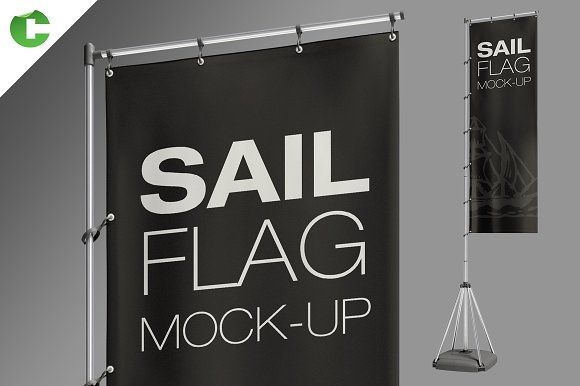 Sail Flag Mock-Up  by Colatudo Store on @creativemarket