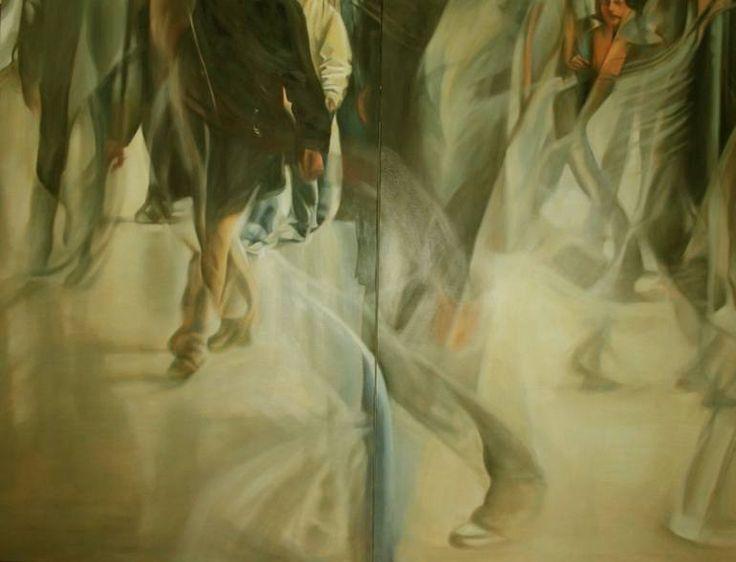 "Saatchi Art Artist cecchin liliana; Painting, ""Metro ora di punta"" #art"