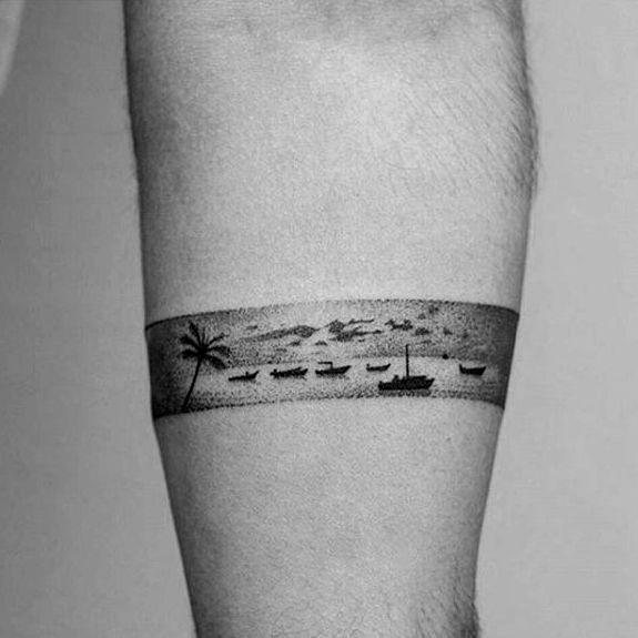 Ocean Landscape Badass Mens Small Forearm Band Tattoo Designs Forearm Band Tattoos Small Tattoos For Guys Band Tattoo Designs