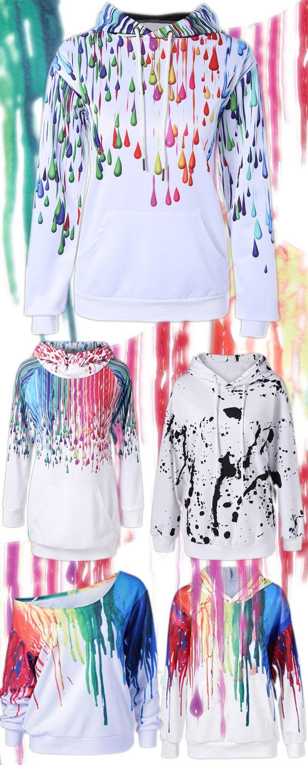 Pullover Splatter Paint Kangaroo Pocket Hoodie