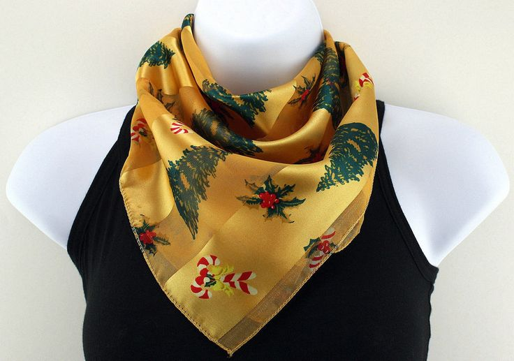 New Christmas Tree Womens Gold Gift Holly Square Scarf Scarfs Ladies Scarves #TiesJustForYou #Scarf