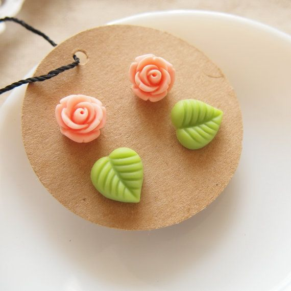 Rose Garden  Studs set of 4  Peach Rose by bysiuc on Etsy,