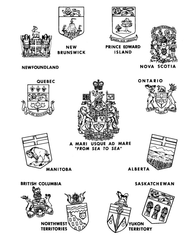 Canada Day - Canada Coat of Arms, Canadian Provence Coat of Arms Coloring Pages | HonkingDonkey