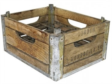 Antique Borden Dairy Wood and Metal Milk Bottle Crate