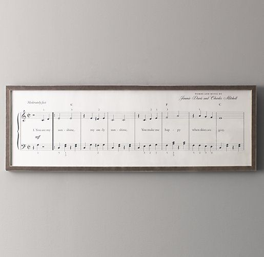 You Are My Sunshine Sheet Music Art // Restoration Hardware Baby // It's next to impossible to see this framed piece without singing along. First recorded in 1939, this popular song is captured note for note in an exact reproduction of traditional sheet music. Perfect in a nursery now and just about any room of the house later.
