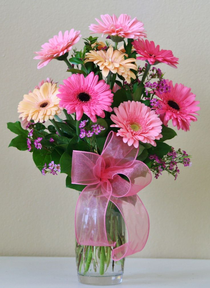 An arrangement of Gerberas in shades of pink. Made by Willow Branch Florist of Riverside