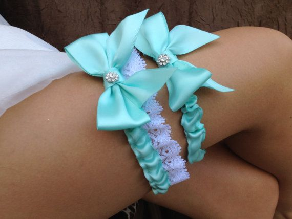 Tiffany Blue/ Wedding Bridal Garter Set ... with Rhinestone details... on Etsy, $34.95