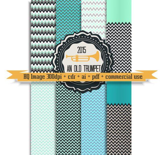 11 promo Chevron Mint digital paper 08: zigzag by AnOldTrumpet