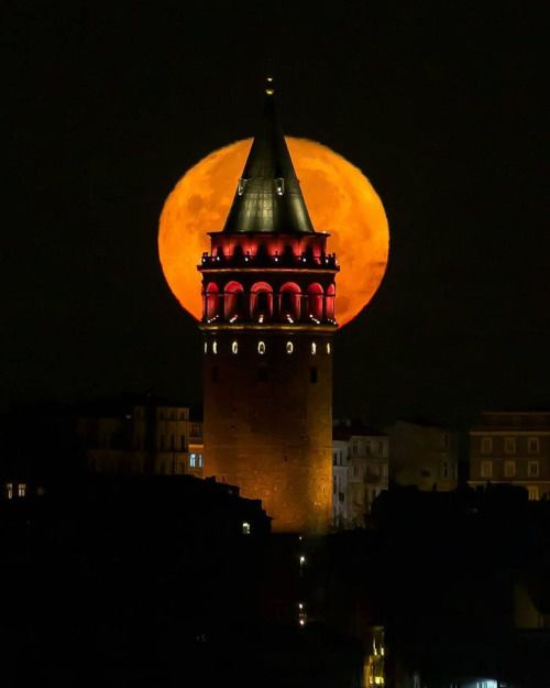 Galata Tower by night  in Istanbul, Turkey