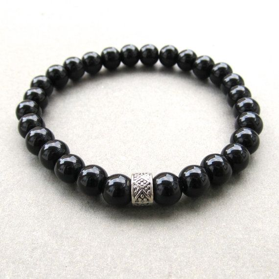 Mens semiprecious black agate beaded stretch bracelet by lowusu, $18.00