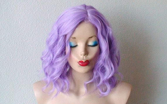 Pastel Lavender wig. Short  beach wavy hairstyle wig. Lavender short curly hairstyle long side bangs wig. Light purple hair wig.