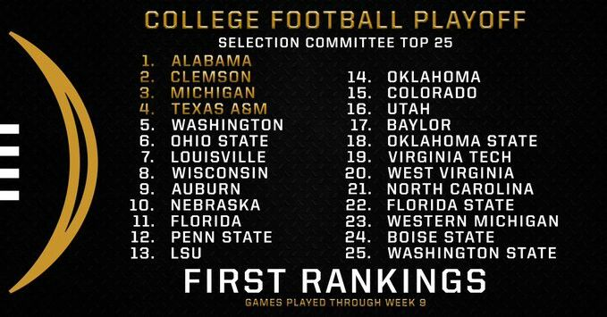 College Football Playoff Rankings - 1st poll Nov 1, 2016 -- more to follow