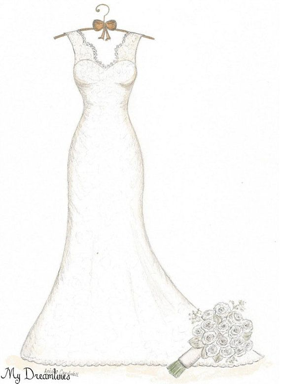 Wedding Dress & Bouquet Sketch Paper Anniversary by Dreamlines.  Paper anniversary gifts for her and Wedding gifts from the groom to the bride.  https://www.etsy.com/listing/215401369/wedding-dress-bouquet-sketch-paper?ref=shop_home_active_1