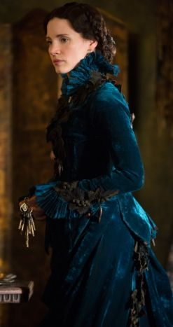 """In del Toro's """"Crimson Peak,"""" Costume Designer Kate Hawley built a period wardrobe for protagonist Lucille Sharpe (Jessica Chastain) that fulfilled the practical and creative demands of the role."""
