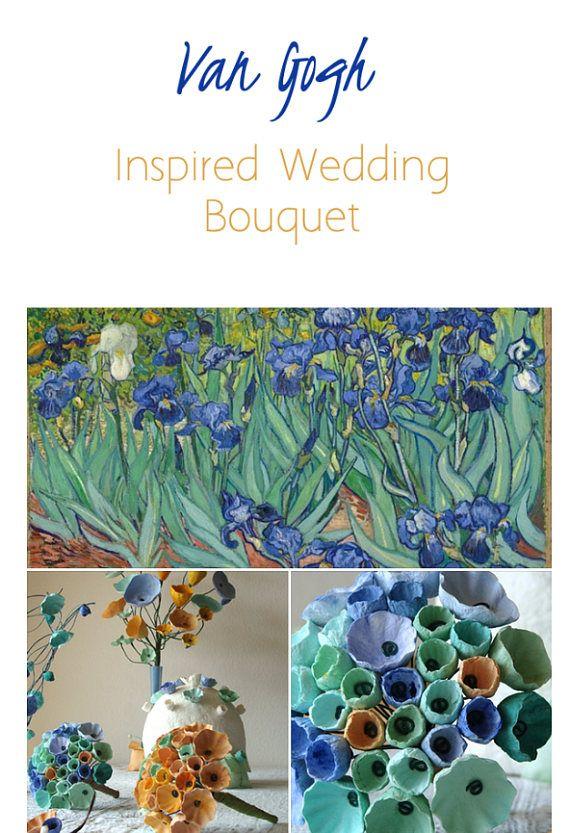 Matrimonio Green a tema artistico, Van Gogh . Bouquet di fiori di carta by Alessandra Fabre Repetto matrimonio Ecologico Roma. Van Gogh inspired Wedding Bouquet , Paper flowers Bouquet, Art inspired Wedding