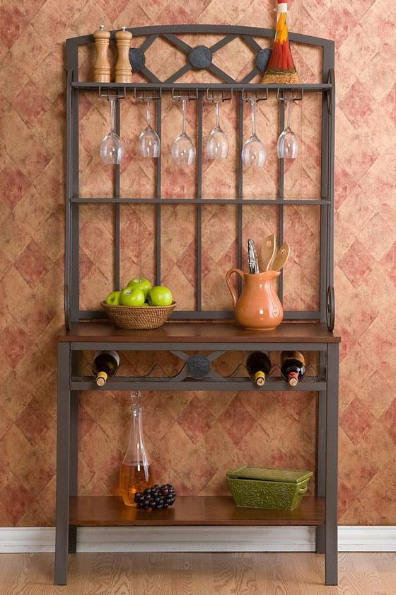 Decorative baker 39 s rack with wine storage baker 39 s racks for Other uses for wine racks in kitchen