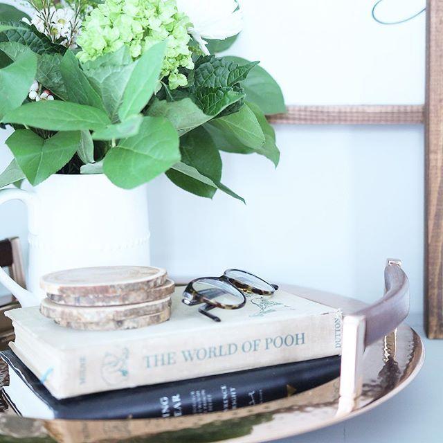 vignette, fresh flowers, winnie-the-pooh, home décor.
