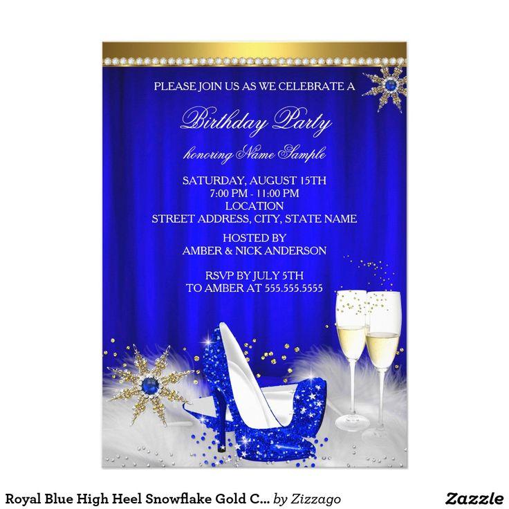 Royal Blue High Heel Snowflake Gold Champagne 5x7 Paper Invitation Card